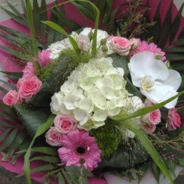 Bouquet blanc et rose pastel